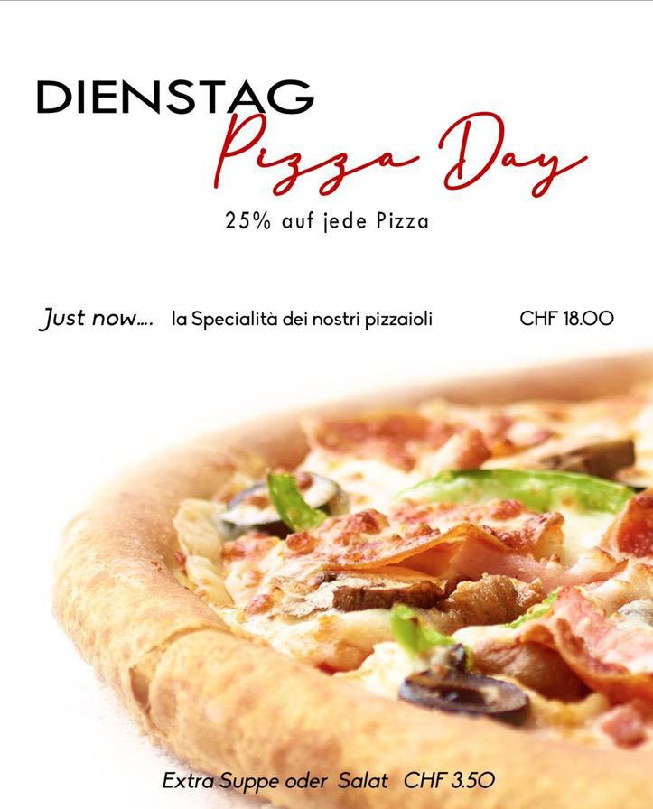 La Stalla Restaurant Pizzeria St. Moritz Tageskarte Dienstag Pizza Angebot