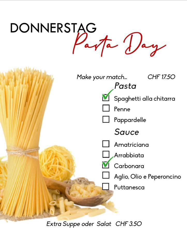 La Stalla Restaurant Pizzeria St. Moritz Tageskarte Donnerstag Pasta Angebot