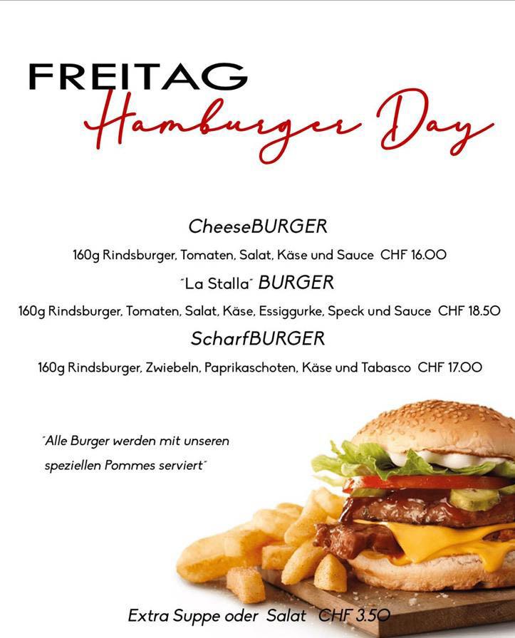 La Stalla Restaurant Pizzeria St. Moritz Tageskarte Freitag Hamburger Angebot