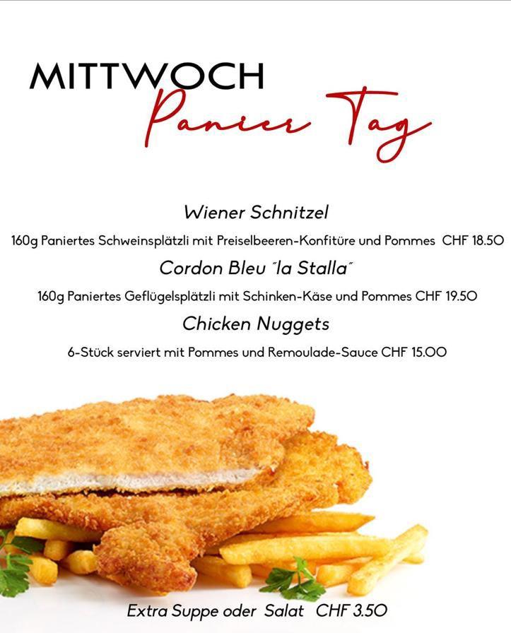 La Stalla Restaurant Pizzeria St. Moritz Tageskarte Mittwoch Schnitzel Angebot